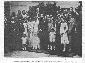 La señoria Purificación Boza y D. Luis Delgado Álvarez, después de verificado su enlace matrimonial.