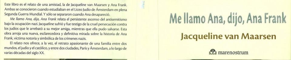 Me llamo Ana, dijo, Ana Frank de Jacqueline Van Maarsen