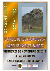 """Cartel anunciado de la presentación del libro """"El valle de los prodigios""""."""