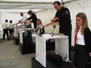Exhibición de cortadores de jamón