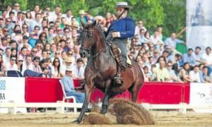 Un jinete, durante el Campeonato de España de doma vaquera, en la Hacienda La Albaida. - RAMÓN AZAÑÓN