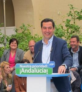 El presidente del PP andaluz, Juanma Moreno, en Fuente Obejuna. - EUROPA PRESS