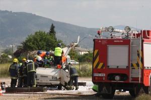 Imagen de un simulacro de accidente el aeropuerto de Córdoba. - A.J. GONZÁLEZ