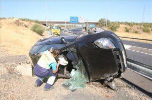 Accidente de trafico en la N-432, entrada a Córdoba desde Badajoz. - EUROPA PRESS