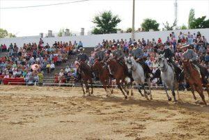 Uno de los momentos del espectáculo llevado a cabo por Córdoba Ecuestre ayer en Fuente Obejuna. - EVA M. HERAS