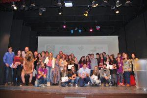 Ganadores y organizadores de certamen creación audiovisual Fuente Obejuna tras la entrega de premios. - E.M. HERAS